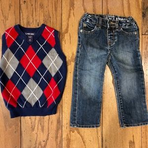 2T Boys Jeans and Sweater Vest